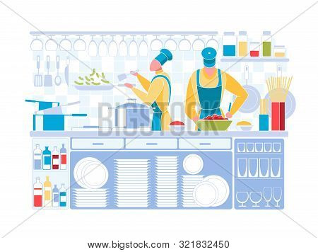 Man And Woman Characters Wearing Chef Uniform And Toque Cooking On Kitchen. People Prepare Dishes At