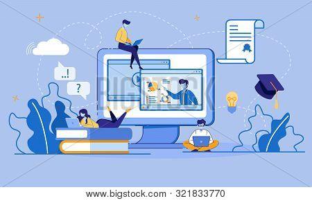 Online Education, E-learning, E-library Via Digital Device. Educational Application, Video Tutorials
