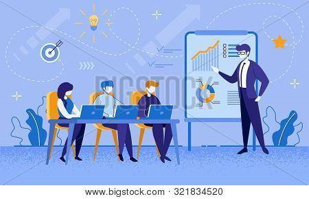 Education Courses For Office Workers And Businesspeople. Cartoon Female And Male People Group At Bus