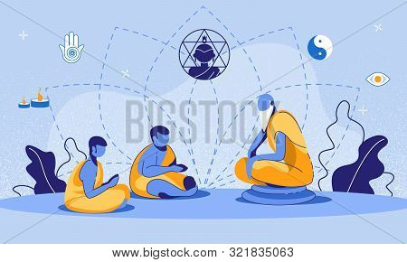 Cartoon Old Buddhist Monk On Stone Teaching Dharma Young Male Religioners. Buddhism Education. Asian