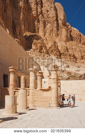Deir El-bahari, Egypt - September 16, 2008. Group Of Tourists Walking In Famous Mortuary Temple Of H