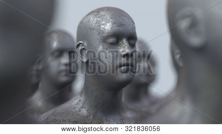 group of cloned people, 3d illustration