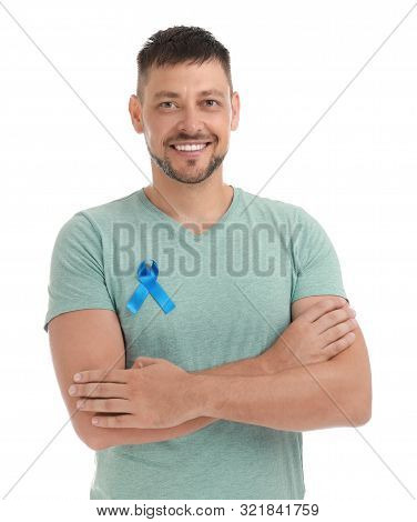 Man With Blue Ribbon On White Background. Urology Cancer Awareness