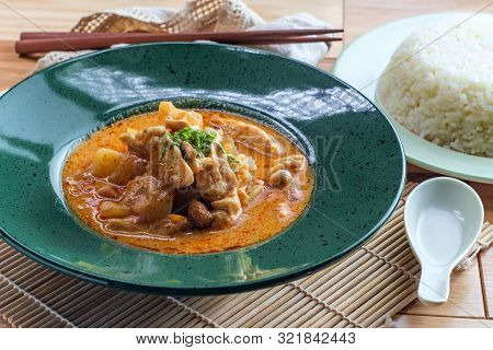 Thai Food Spicy Coconut Milk Massaman Curry Soup With Chicken And Potatoes