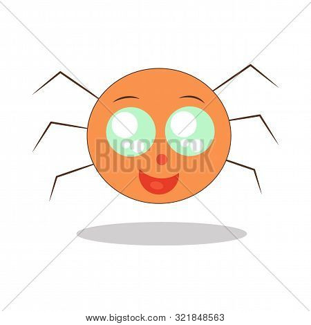 Cute Little Happy Kawaii Spider With Big Eyes Is Smiling. Vector Flat Icon, Arachnid Insect Logo.