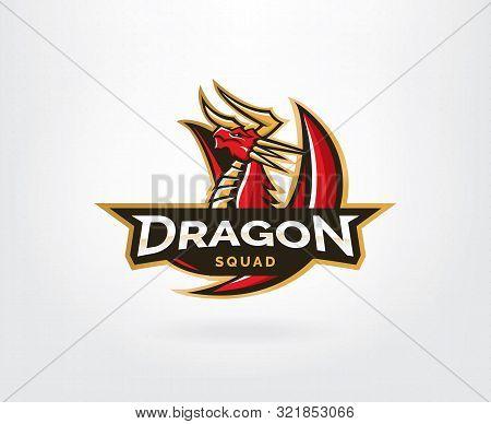 Dragon sport gaming mascot logo template. Mythological animals dragon sport. esport gaming mascot logo template for team poster