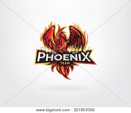 Phoenix E-sport And Sport Style Mascot Logo Design. Red Phoenix For Esport And Sport Mascot Logo