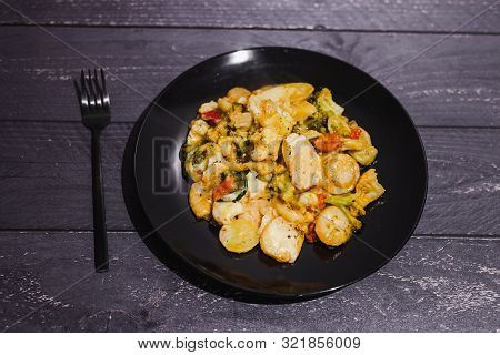 Plant-based Potato And Veggies Bake With Vegan Cheese Topping And Herbs, Concept Of Healthy Food Rec
