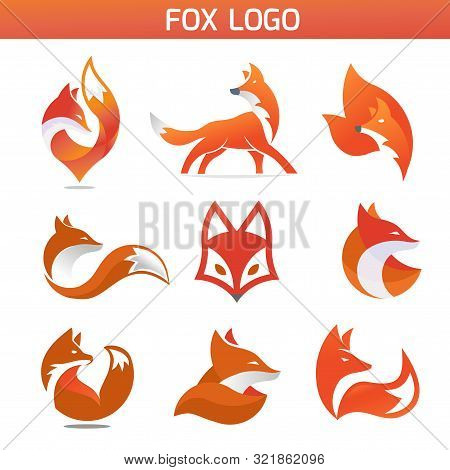 Creative Fox Animal Modern Simple Design Concept Logo Set, Fox Animal Face Modern Simple Design Conc