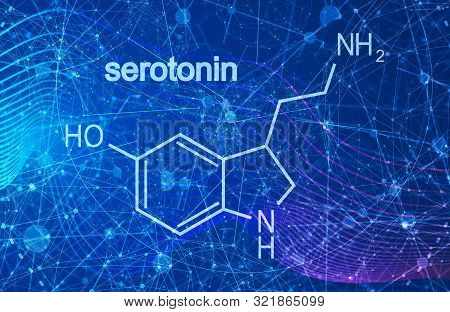 Chemical molecular formula hormone serotonin. Infographics illustration. poster