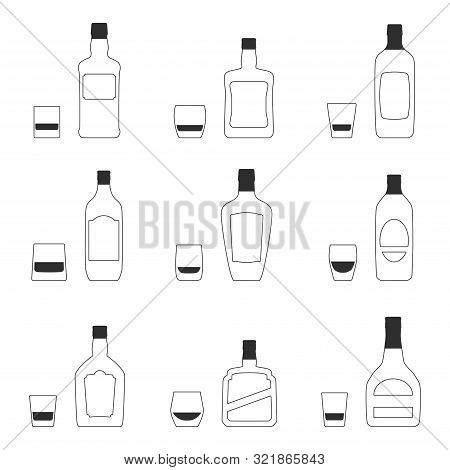 Vector Set Of 9 Different Rocks Glasses And 9 Bottles Of Whiskey Silhouettes. Isolated Objects On Wh
