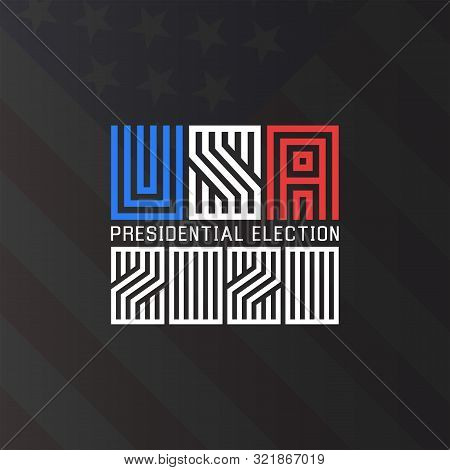 Us Presidential Election Logo 2020, Template For The Political Poster Of The American Electoral Camp