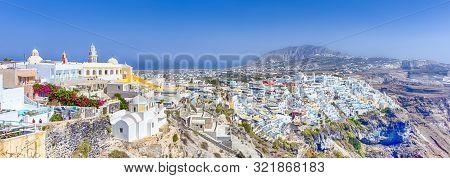 Panorama Of Thira On Santorini Island In Greece At Daytime. Panorama Image