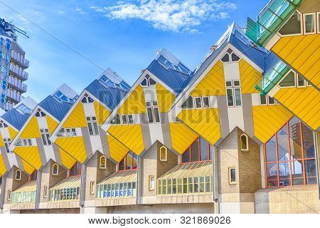 Rotterdam, The Netherlands -may 11, 2017: Modern City Architecture Design Elements Known As Cubic Ho