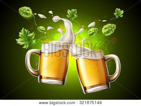 Vector 3d Lager Beer Glass Saluting Oktoberfest