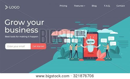 Chatbot Flat Mini Persons Vector Illustration Landing Page Template Design. Artificial Intelligence