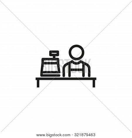 Cashier Line Icon. Man, Worker, Counter, Cash Register. Cashier Concept. Vector Illustration Can Be