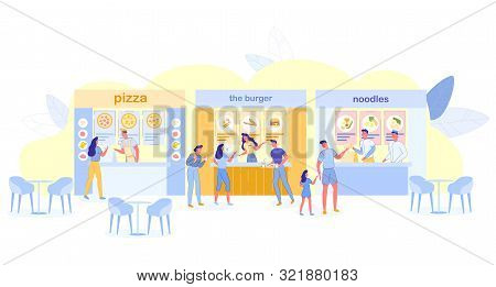 People Visiting Food Court For Buying Food, Pizza, Noodles, Burger Kiosks Offer Different Meals, Fam