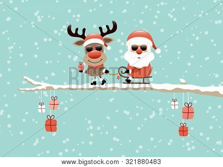 Reindeer Pulling Sleigh With Santa Sunglasses On Bough Turquoise