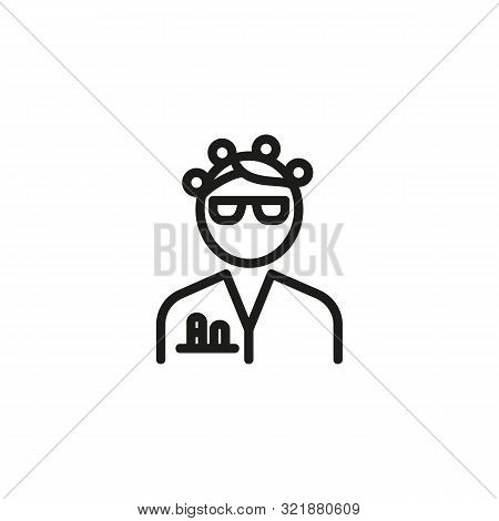 Scientist Phd Line Icon. Chemist Woman In Eyeglasses And White Coat With Test Tubes In Pocket. Scien