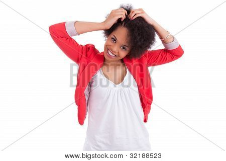 Young African American Woman Making Braids