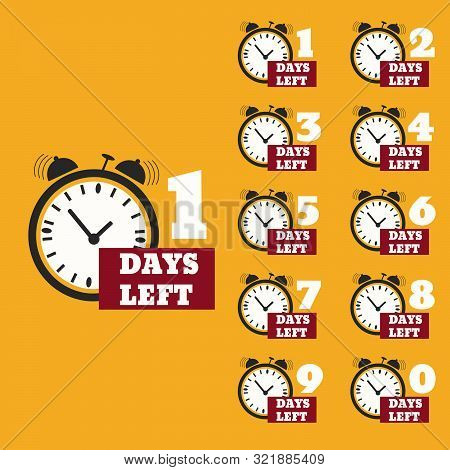 Days Left To Do Clock  Banners Collection Badges For Landing Page Set Eps 10