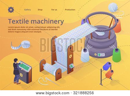 Textile Machinery Banner, Woman Factory Worker Character In Uniform Standing Near Controlling Panel