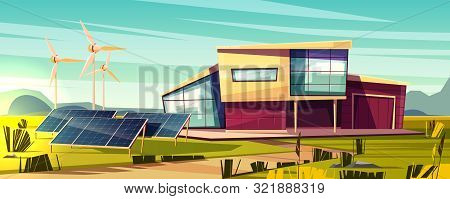 Energy Independent, Efficient House Cartoon Concept. Modern Cottage With Solar Panel And Wind Turbin