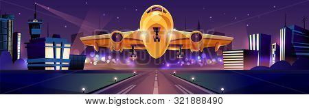 Passenger Or Cargo Plane Taking Off Or Landing On Runaway At Night Time, City Lights On Background C