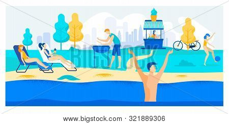 Advertising Banner Weather Conditions In Summer. Girls Lie On Lounger By Pool And Sunbathe. Guy Cook