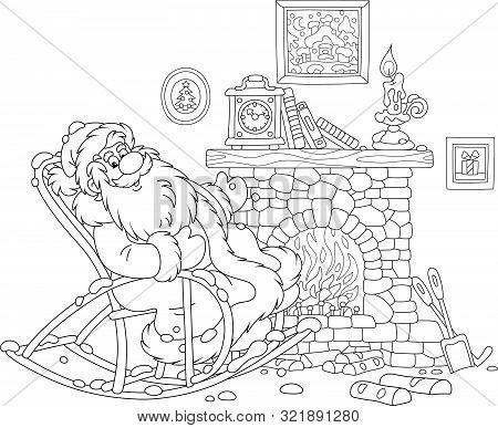Santa Claus Sitting In His Creaking Rocking Chair And Basking By An Old Fireplace With A Mantel Cloc