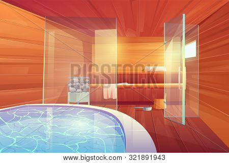 Sauna with swimming pool and glass doors. Empty interior design of wooden bathhouse room with shelves, hot stones, towels, scoop and bucket Place for hygiene and relaxation Cartoon vector illustration poster