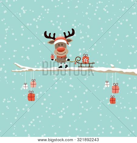Square Card Reindeer With Sleigh On Bough Sky Turquoise