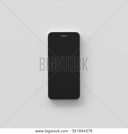 Modern Smartphone Black Color With Blank Screen Isolated On Bright Background. 3d Rendering