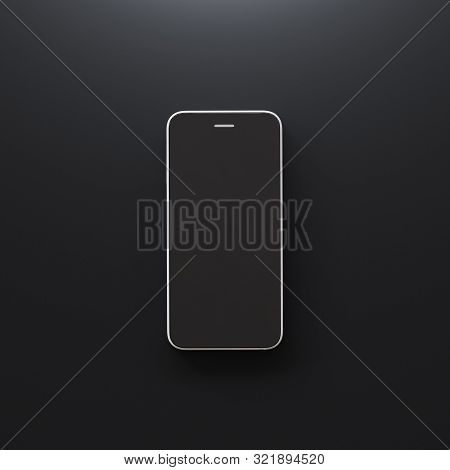 Modern Smartphone Black Color With Blank Screen Isolated On Black Background. 3d Rendering