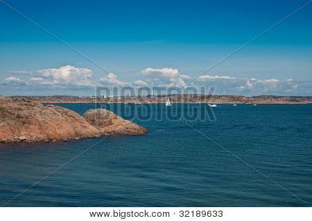 Scenic view at swedish coast from the island Bohus Malmon poster