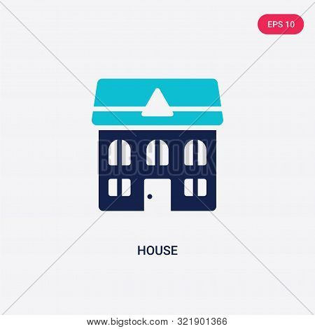 two colored house vector icon from cleaning.