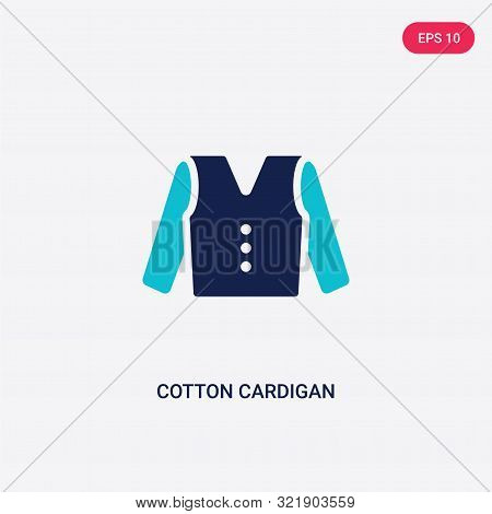 two colored cotton cardigan vector icon from clothes.