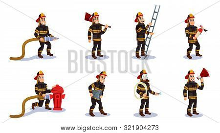 Firemen Characters Set Flat Cartoon Vector Illustration. Firefighter In Different Situations With Re