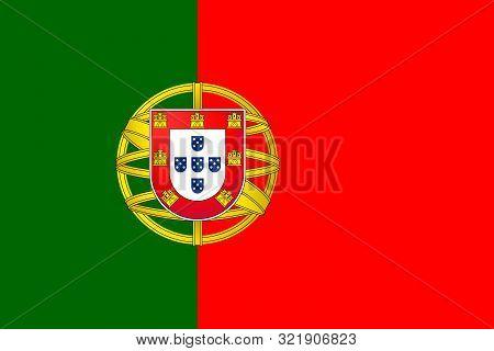 Vector Flag Of Portugal. Eps 10 Vector Illustration. Portuguese Flag. Lisboa