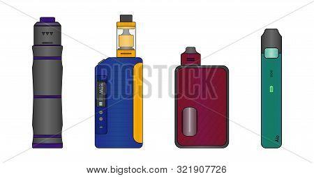 Colorful Set Of E-cigarettes. Mechanical Mod, Box Mod, Squonk Mod And Pod System. Vector Illustratio