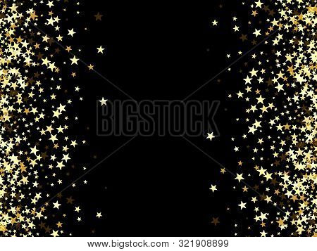 Salute Of Gold Stars On A Black Background