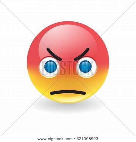 Angry Scowling Round Yellow And Red Emoticon Glaring At The Viewer In Rage With Large Blue Eyes Over