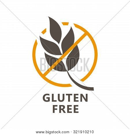 Gluten Free Icon - Ear Of Wheat And Ban Sign, Gluten Free Label For Products