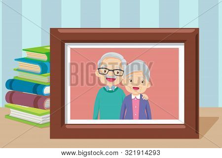 Grandmother And Grandfather In Photo Frame Together.grandparents. Elderly Couple.happy Grandparents