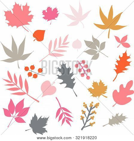 Autumn Leaves Isolated Vector Icon Set. Scandinavian Style Red Pink Gold Blue Leaf Elements. Hand Dr