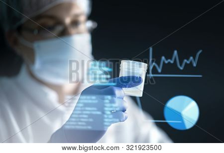 Medical Research Concept With Futuristic Ar Screen Information, Smart Technology And Digital Hologra