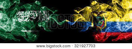 Saudi Arabia Kingdom Vs Ecuador, Ecuadorian Smoky Mystic Flags Placed Side By Side. Thick Colored Si
