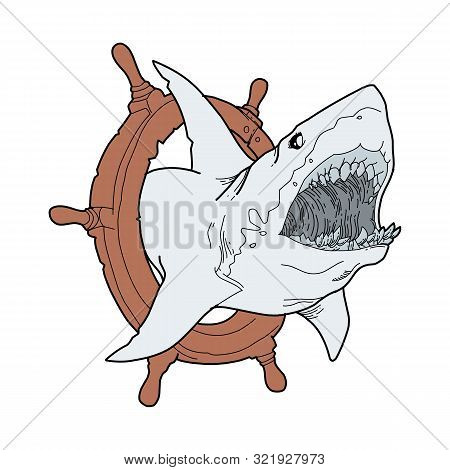 Blue Shark Logo Vector, Shark , Shark Swimming, Shark Illustration. Shark Illustration Vector. Shark