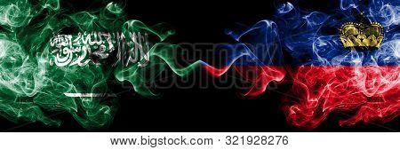 Saudi Arabia Kingdom Vs Liechtenstein, Liechtensteins Smoky Mystic Flags Placed Side By Side. Thick